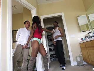 Ebony sweetie Mya Mays makes a cock disappear in her wet cunt