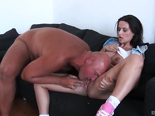 Hardcore ass fuck and a mouth full of warm cum for brunette Madlin