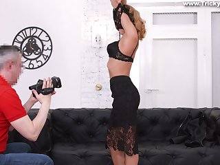 Russian student Jenny Manson takes part in porn casting scene for the first time