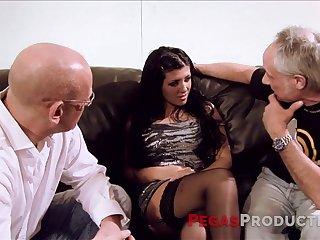 Fake tittied hoochie serves two elder dudes at the highest level