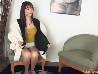 Solo babe Aizawa Haruka pleases her pussy with a long toy
