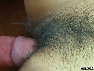 Thai chick Ann is toying her hairy closeup snatch before heavy pounding