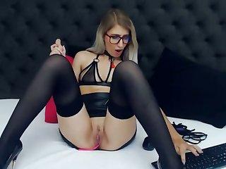 amazing blonde teacher fucks pussy with lovense dildo