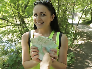 Bright young babe creampied outside