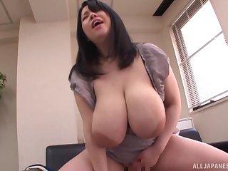 Japanese BBW babe Yuuki Iori rides cock after giving  a blowjob