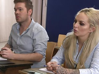 There is nothing better for Louise Lee than a sex on the classroom table