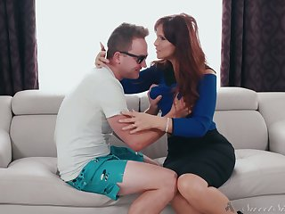 Red haired bitchy mommy Syren De Mer seduces stepdaughter's boyfriend