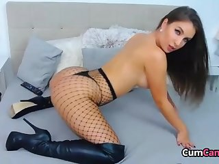 Beautiful Babe In Fishnets Teasing You To Cum