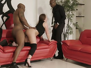 Perverted bitch with rounded ass Maddy O'Reilly is brave to take double BBC penetration