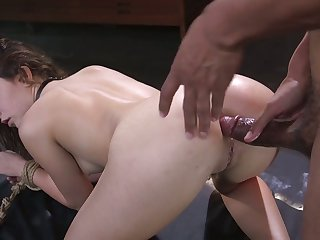 Groaning submissive tied up bitch Jane Wilde enjoys some wild doggy