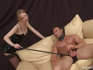 Tied dude enjoys a footjob and spanking before sex with blonde Lois