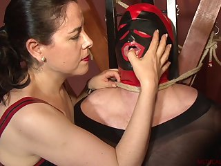 Tied guy gets his penis eaten by Patricia MedicalySado and Anna