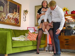 The mature maid is willing to do anything for the man