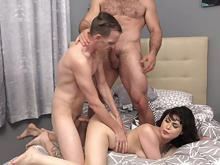 Brunette wife gets drilled buy two men in a dirty threesome