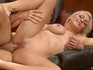 Blonde Lexi Swallow with amazing natural tits spreads legs