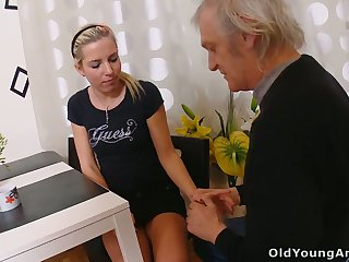Naturally slim blonde bitch Nelya is seduced by fucked by older man