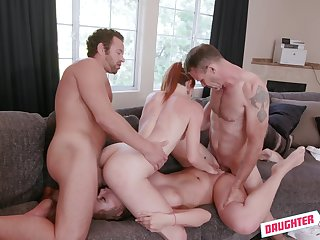 Smashing girls try a naughty foursome with two potent males