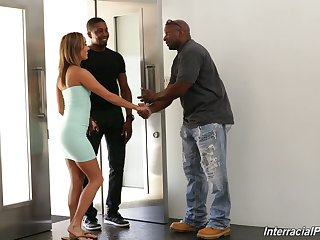 White wife Christy Love is fucked by black husband and his best friend