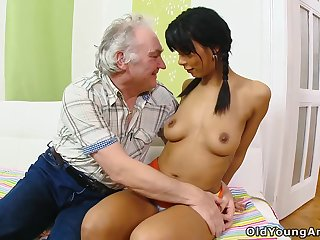 Old man's dream of fucking a cute shy babe finally comes true