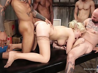 Guys fuck a MILF in group scenes and jizz on her tits
