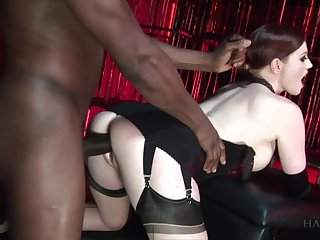 White mistress with pale skin Holly Kiss fucks black submissive dude