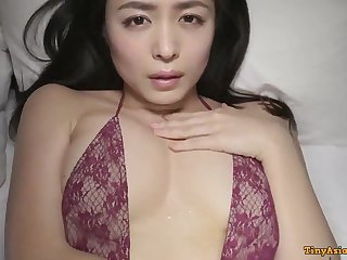 Kawamura Yukie - young beautiful Japanese Asian posing solo in lingerie