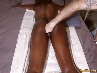 raunchy amateur sex student with Bubble Booty get Massage until Assfucking Creampie