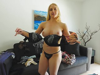 Hot ass blonde Sarah drops her panties to flash her wet pussy