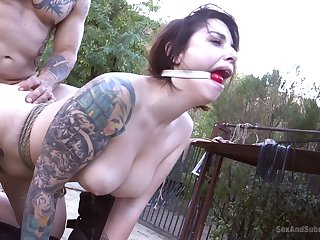 Outdoors torture session with mouth fucking for Ivy Lebelle