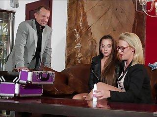 Sexy friends Amirah Adara and Sasha Steele fucked by one stud