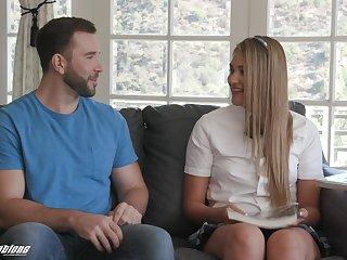 Flaming blonde schoolgirl shares romantic adventure with horny boyfriend