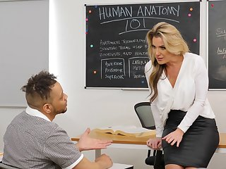 Cum on tits after wild fucking in the college classroom with Kayla Paige